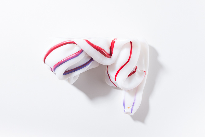Opaque white with Red & Purple stripes | special