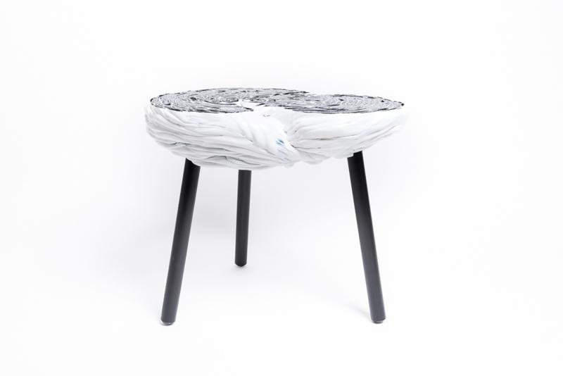 Carved side table  - Black & White