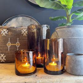 vase organic rim amber