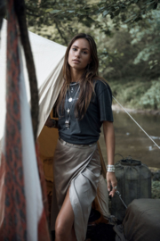 Flora Satin wrap skirt