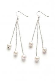 Zilveren Parel oorbellen wit