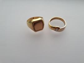 Toermalijn in ring van oud goud