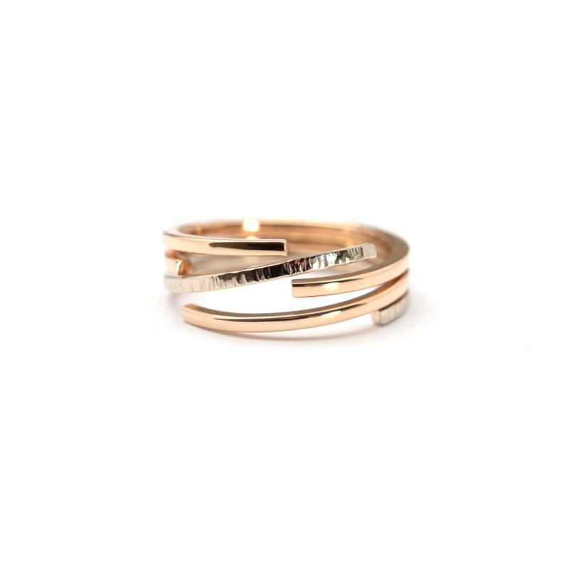 Ring met roodgoud en witgoud