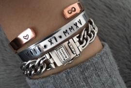 Tekstarmband hart + infinity