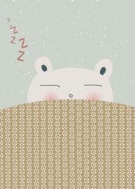 Poster Slaap Lekker A4  mint/oker