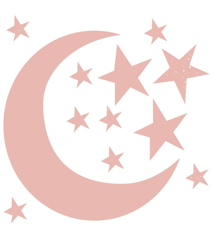 Moon and stars - pink