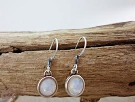 Oorhangers antiek zilver 'white opal'
