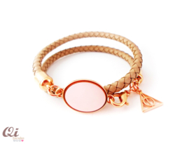 Armband 'gevlochten leer rose'