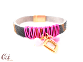 Armband 'nature leather pink'