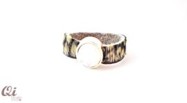 Leren ring Swarovski steen