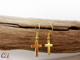 Oorhangers 'cross' goldplated