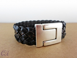 Vintage black lederen armband
