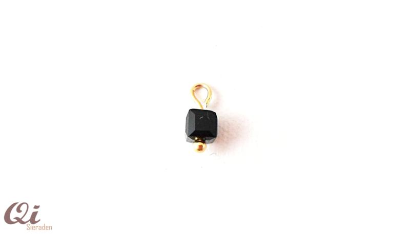 Hanger 'kubus kraal zwart' (1 st)