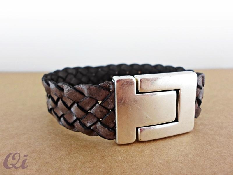 Taupe brown lederen armband