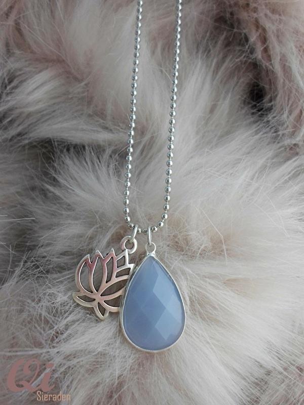 Ball chain zilver druppel/ lotus