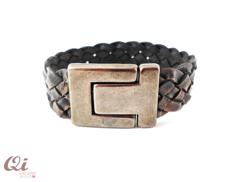 Black antraciet lederen armband