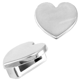 DQ metaal Cuoio/Love Crystal slider hart Antiek zilver