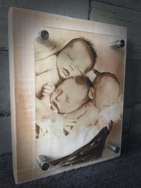 Plexiglas met steigerhout foto/naambord