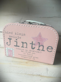 Koffertje met opdruk geboorte kaartje