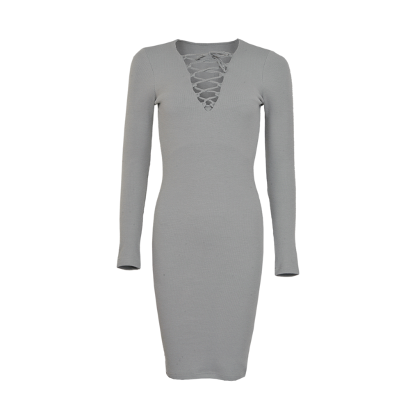 LA Sisters - Lace Up Dress Grey