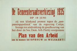 Poster - De Gemeenteraadsverkiezing 1935 - Plan van den Arbeid