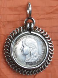 Zilveren miniatuur gulden Wilhelmina 1896 – in hangertje