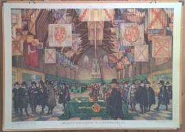 Schoolplaat: DE GROTE VERGADERING TE 'S-GRAVENHAGE - 1651 - ca. 1950