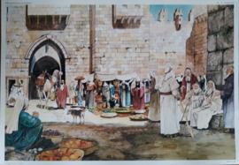 Wandplaat - Kijk op het land van de bijbel – 1 van 18: Nr.  6 In de poort - 1982
