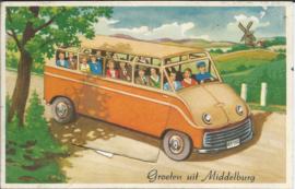 Groeten uit Middelburg - Leporello kaart met 10 fotootjes - 1 - 1955