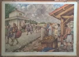 Schoolplaat: ROMEINSE LEGERPLAATS AAN DE RIJNMOND (VALKENBURG) - ca. 1951