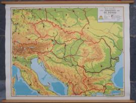Wandkaart: STROOMGEBIED VAN DE DONAU (Blinde schoolkaart) - ca. 1966