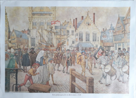 Poster: Een gildenoptocht in Antwerpen, 1520 - ca. 1975 (1965-1968)