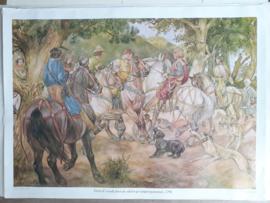 Poster: Floris V wordt door de edelen gevangen genomen, 1296 - ca. 1975 (1928)