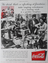 Prent - Coca-Cola - '... at a garden firplace' - 1935