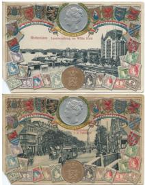 SET van 2 ansichtkaarten – in reliëf (gepreegd) – Rotterdam – ca. 1919