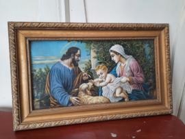 Jozef, Maria, kindje Jezus met lam.