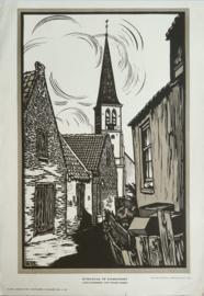 Prent – STRAATJE TE ZANDVOORT – LINOLEUMSNEDE VAN FRANS BOSEN - 1929