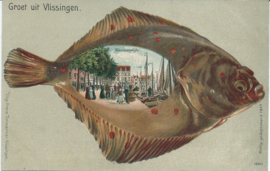 Lithografische ansichtkaart in relief - Groet uit Vlissingen - Nieuwendijk (#)