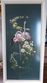 ingelijste geborduurde flamingo's