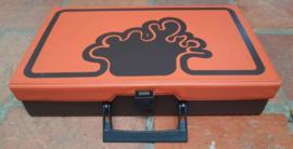 Koffer – muziek cassettes - kunststof – oranje-bruin - jaren '80