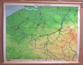 Wandkaart: België en Luxemburg (Blinde schoolkaart) - ca. 1965