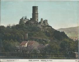 Prent – FOTO – DER RHEIN. Godesberg, die Ruine (kleur) - 1904