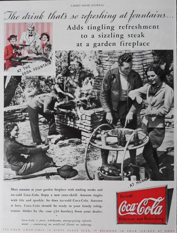 Prent - Coca-Cola - '... at a garden firplace' - 1935