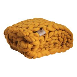 """Plaid """"Zonnig geel"""" Biologische wol"""