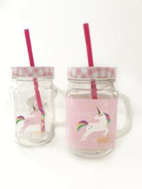 "Drinkbeker ""Unicorn"" Roze achtergrond"