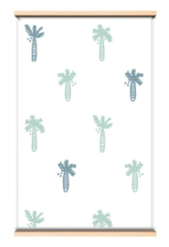 """Behang """"Palmboom"""" Groen/blauw"""
