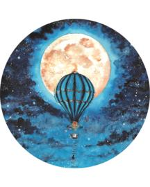"Vloermat ""Luchtballon Blauw"" Rond"