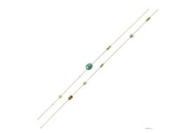 Ketting goud met groen/turquoise kraaltjes en sterretje
