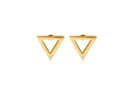Oorbellen open driehoekje goud (5mm)