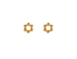 Oorbellen six dots round (goud)